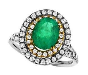 2.21ct Emerald 18 K Yellow White Gold Ring