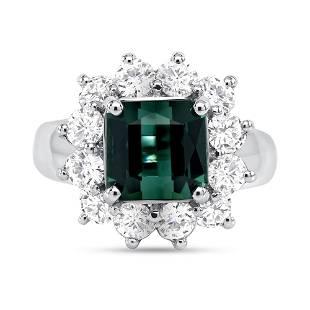 3.34ct Green Tourmaline & Diamond Square Ring