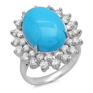 7.44ct Turquoise 14 K White Gold Ring