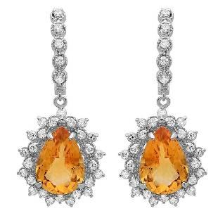 9.78ct Citrine 14 K White Gold Earrings