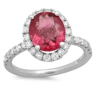 2.11ct Pink Tourmaline 14 K White Gold Ring