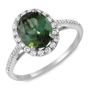 2.25ct Green Tourmaline 14 K White Gold Ring