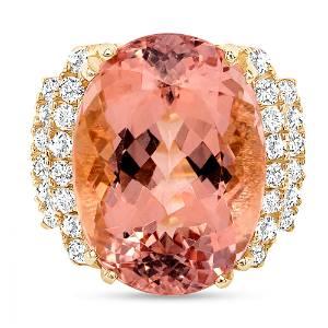 15.06ct Oval Morganite & Diamond Ring