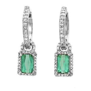 1.37ct Emerald Tourmaline 14 K White Gold Earrings