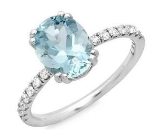 1.69ct Aqua 14 K White Gold Ring