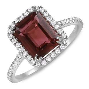 2.42ct Pink Tourmaline 14 K White Gold Ring