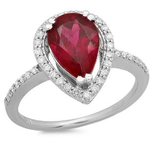 2.06ct Pink Tourmaline 14 K White Gold Ring