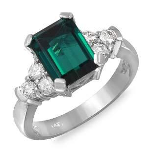 2.62ct Green Tourmaline 14 K White Gold Ring
