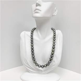9-12mm Tahitian Silvery Green Round Pearl Necklace with