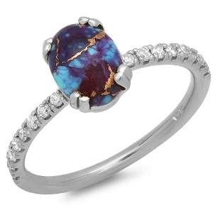 1.2ct Copper Turquoise 14 K White Gold Ring
