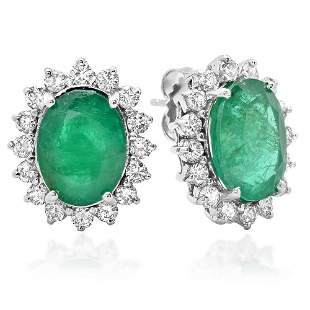 7.79ct Emerald 14 K White Gold Earrings