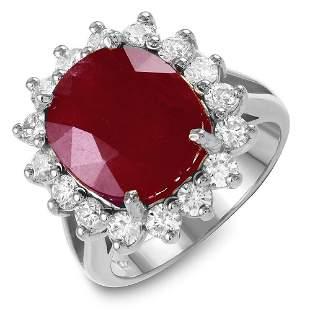 10.75ct Ruby 14 K White Gold Ring