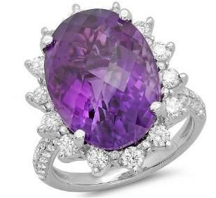 11.57ct Amethyst 14 K White Gold Ring
