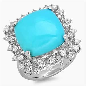 7.31ct Turquoise 14 K White Gold Ring