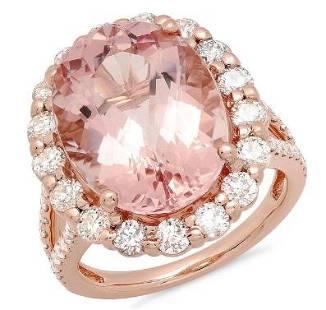 10.23ct Morganite 14 K Rose Gold Ring