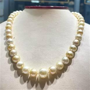 "8.5-11mm golden akoya pearl 14k yellow gold clasp 18"""