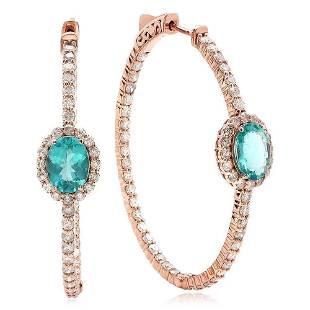 2.16ct Apatite 14 K Rose Gold Earrings