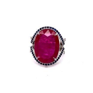 8.45ct NATURAL Ruby 14K White Gold Ring