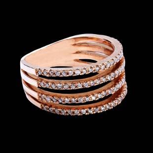 0.47CT NATURAL DIAMOND 14K ROSE GOLD RING