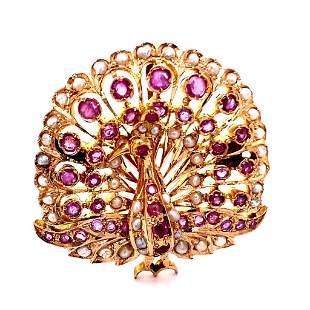Natural Pink Sapphire and Pearl 14K Rose and Yellow