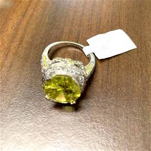 6.03ct Fancy Yellow Diamond 18K White Gold Ring