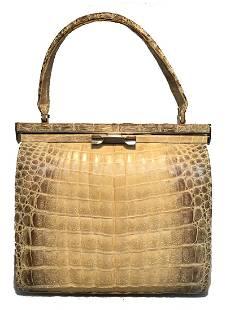 Vintage 1960s Natural Beige Crocodile Handbag