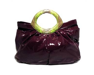 LAI Purple Patent Leather and Python Tote