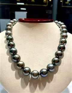 12.5-13.5mm black Tahitian pearls 31pcs 17inches