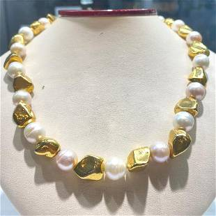 10.5-11.5mm Australian pearls with gold plated beads in