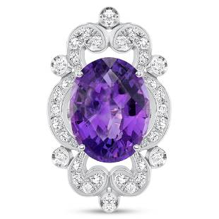 10.65ct Oval Purple Amethyst & Diamond Ring