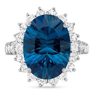8.59ct Oval London Blue Topaz & Diamond Ring