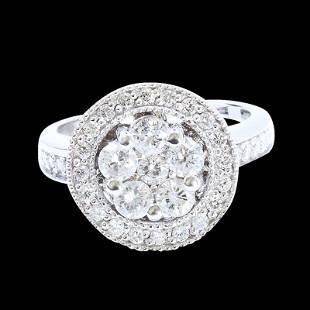 1.33CT NATURAL DIAMOND 14K WHITE GOLD RING