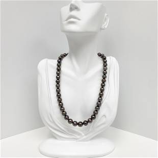 8-10mm Tahitian Aubergine Near-Round Pearl Necklace