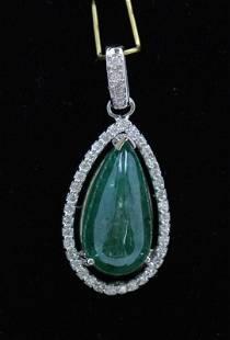 8.17ct NATURAL Emerald 14K White Gold Pendant