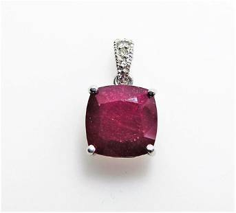 6ct NATURAL Ruby 14K White Gold Pendant