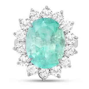 8.45ct Oval Emerald & Diamond Ring