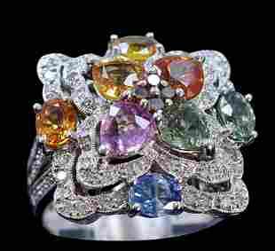 1.50ct Multi NATURAL CEYLON Sapphire 14K White Gold