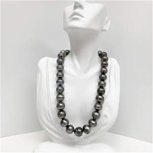 15-17mm Tahitian Circled Button/Baroque Pearl Necklace