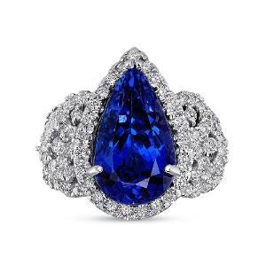 6.38ct Neon Blue Tanzanite 18K White Gold Ring