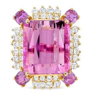 22.47ct kunzite Ring w/Sapphire & Diamond
