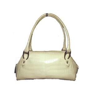 Judith Leiber White Alligator Handbag With Swarovski