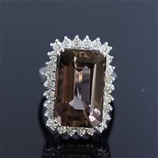 18.33ct Bi-color Tourmaline 14K White Gold Ring