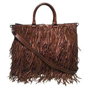 PRADA Noce Nappa Brown Leather Fringe Tote Bag