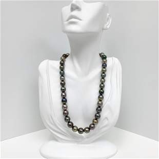 10-11mm Tahitian Multicolor Oval Pearl Necklace with