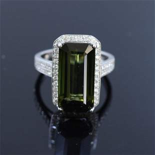 10.10ct Natural Green Tourmaline 18K white gold ring