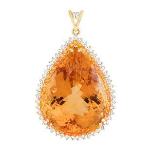 101.5ct citrine, sapphire & diamond pendant