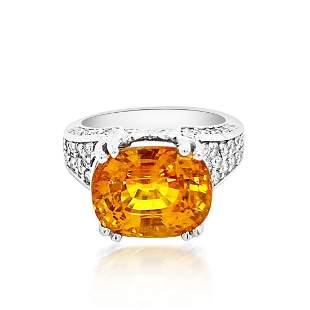 10.12ct NATURAL CEYLON Yellow Sapphire 14K White Gold