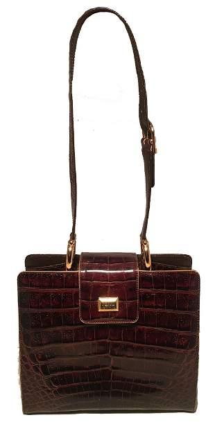 Gianfranco Ferre Vintage Brown Alligator Shoulder Bag