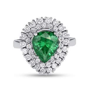 1.78ct NATURAL Emerald 18K White Gold Ring