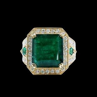 10.28CT NATURAL COLOMBIAN EMERALD 14K Y/G RING